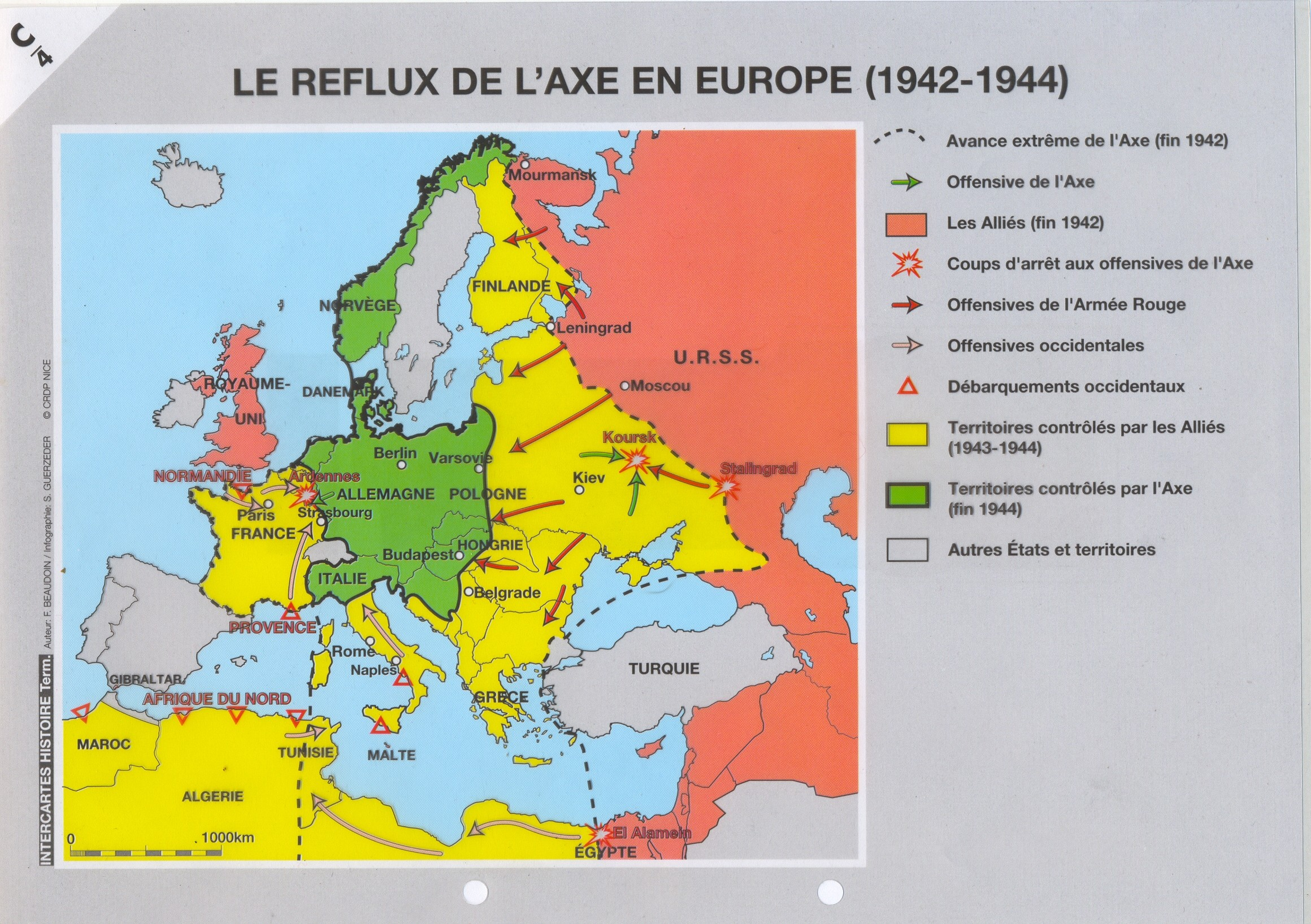 Carte De Leurope En 1942.Documents